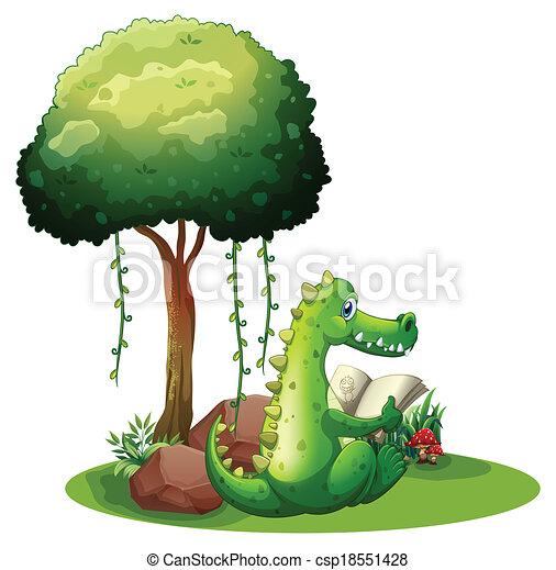A crocodile reading beside the tree - csp18551428