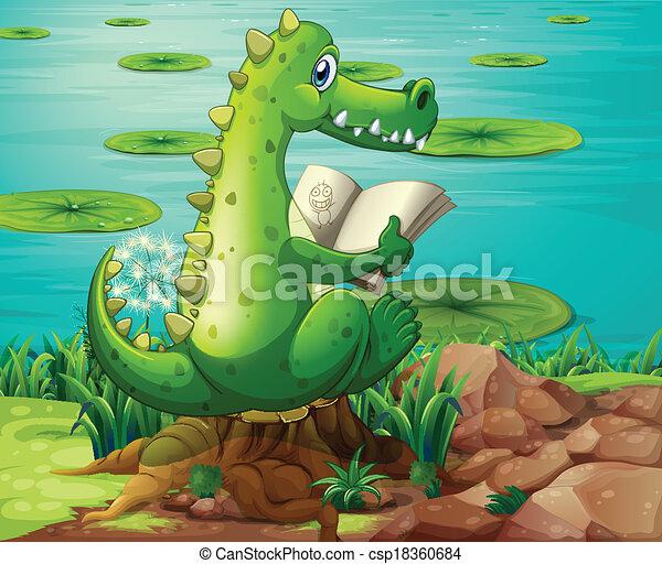 A crocodile reading near the pond - csp18360684