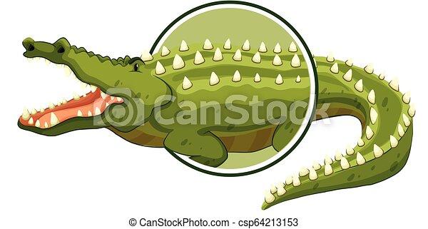 A crocodile sticker on white background - csp64213153