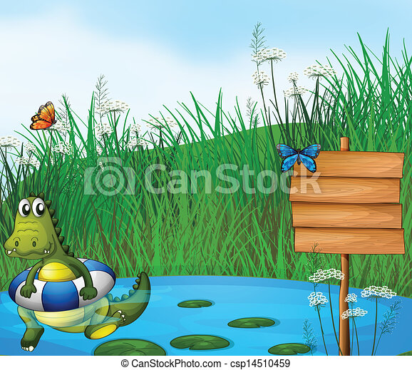 A crocodile swimming in the pond - csp14510459