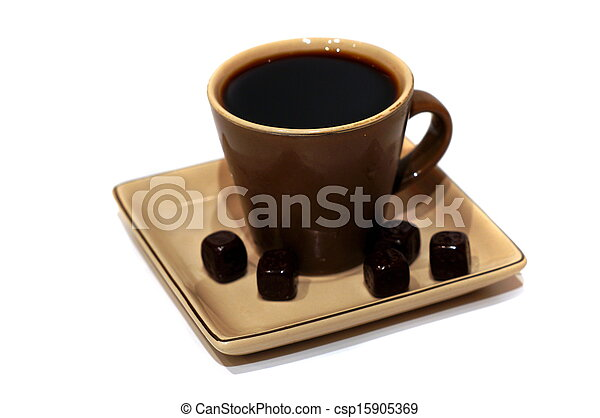A cup of black coffee with chocolate candies - csp15905369