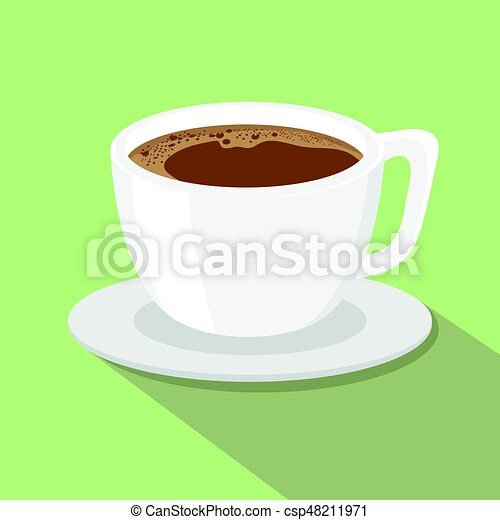 A cup of coffee flat style vector illustration. - csp48211971