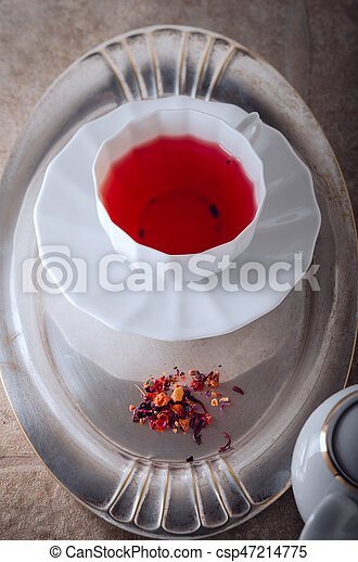 A cup of Red fruit tea - csp47214775
