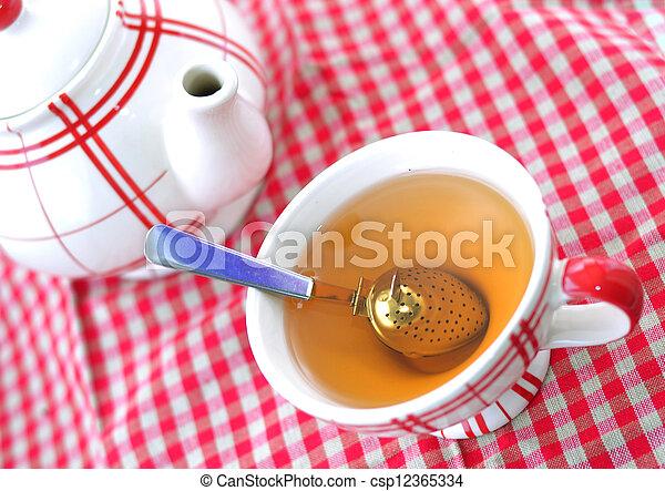 A cup of tea and a teapot - csp12365334