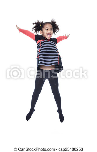 A cute african american little girl jump isolated on white backgr - csp25480253