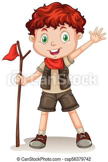 A Cute Boy Scout on White Background - csp56379742
