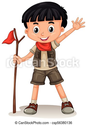 A Cute Boy Scout on White Background - csp56380136