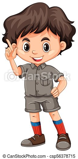 A Cute Boy Scout on White Background - csp56378715