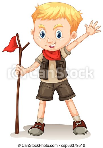 A Cute Boy Scout on White Background - csp56379510