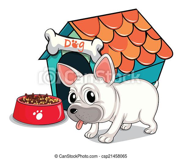 A cute bulldog outside the doghouse - csp21458065