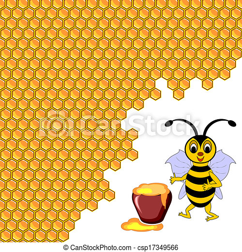 A cute cartoon bee with a honey pot surrounded by honeycombs - csp17349566