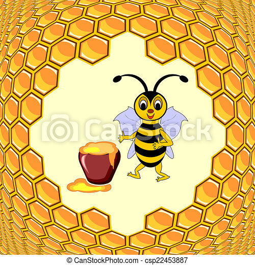 A cute cartoon bee with a honey pot surrounded by honeycombs - csp22453887