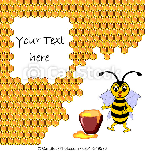 A cute cartoon bee with a honey pot surrounded by honeycombs - csp17349576