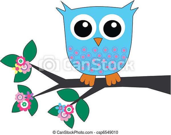 a cute little blue owl - csp6549010