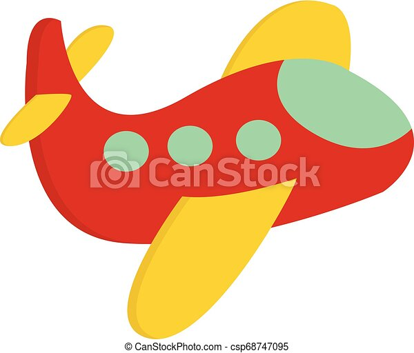 A Cute Little Red Airplane Vector Or Color Illustration A Cute Little Red Airplane With Yellow Colored Wings Blue Colored