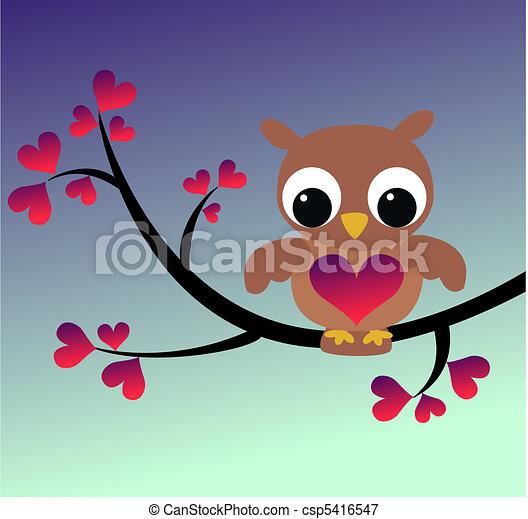 a cute owl sitting on a branch - csp5416547