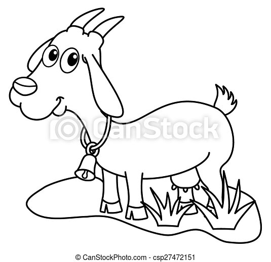 A Dairy Goat In A Field For Coloring