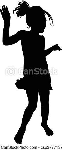 a dancing girl silhouette - csp37771378