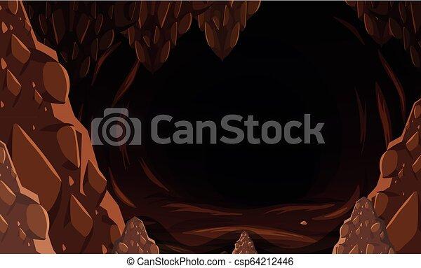 A dark stone cave - csp64212446