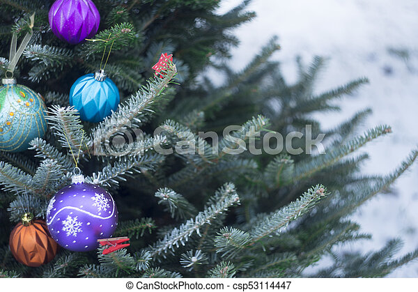 Christmas Tree Outside.A Decorated Christmas Tree Outside