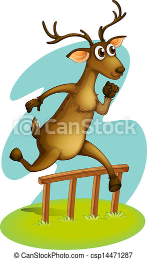 A deer jumping on the fence - csp14471287
