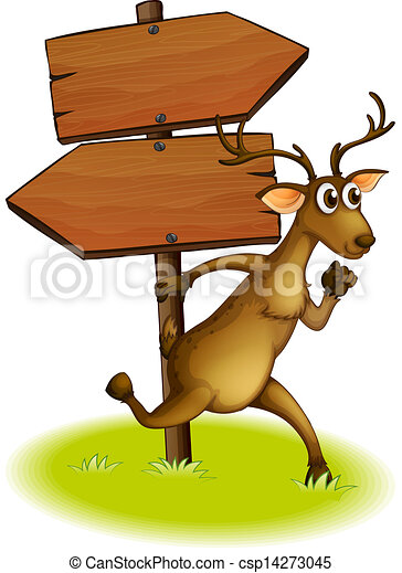 A deer passing the empty wooden arrowboard - csp14273045