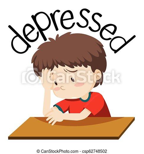 A depressed boy on white background - csp62748502