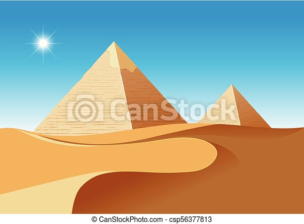 A desert scence with pyramids - csp56377813