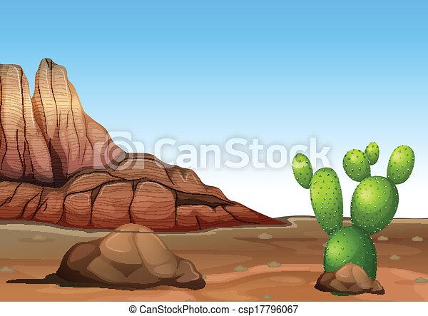 A desert with a cactus - csp17796067