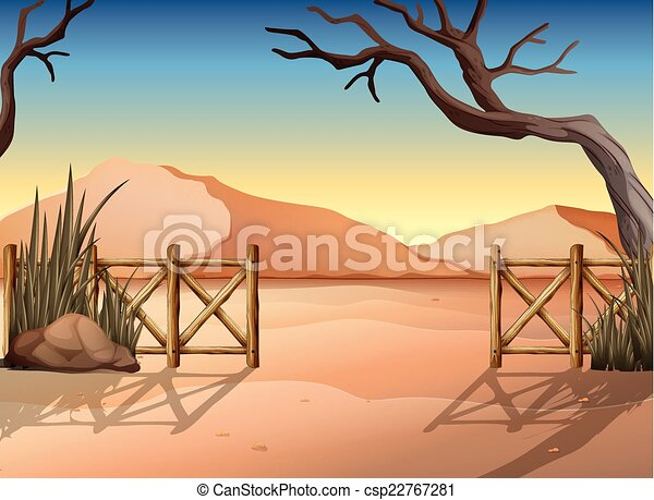 A desert with a fence - csp22767281