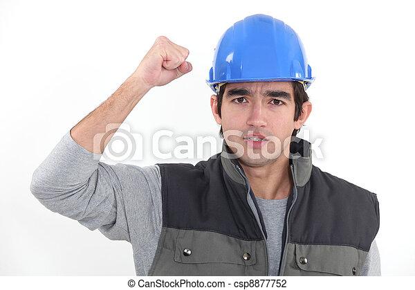 A determined man rejoicing - csp8877752