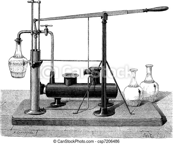 A device to hit the square jugs drawing by jahandier, vintage engraving. - csp7206486