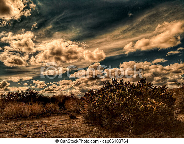 A dirt road in the California Mojave desert under stormy skies. - csp66103764