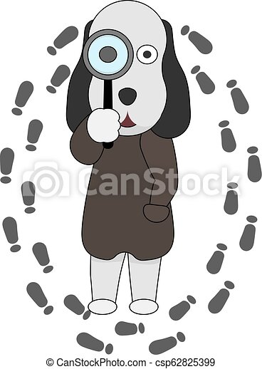 A dog detective holds a magnifying glass in his hand. - csp62825399