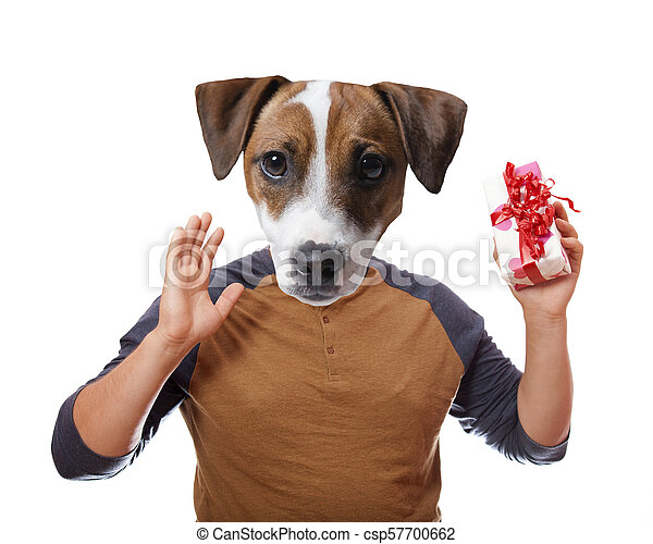 A dog holding present box - csp57700662