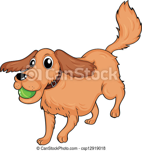 A dog playing with the ball. Illustration of a dog playing ...