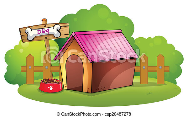 A doghouse near the wooden fence - csp20487278