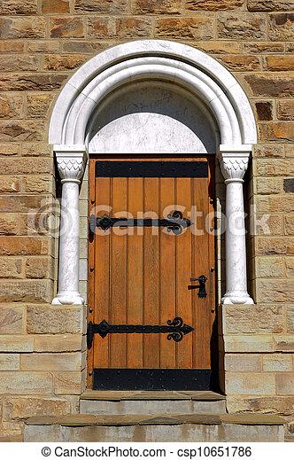 A door of the Christuskirche in Windhoek panorama, Namibia - csp10651786
