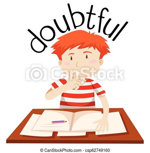 A doubtful boy on white background - csp62749160