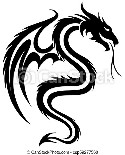 A Dragon Symbol A Symbol Of The Stylized Dragon With Wings