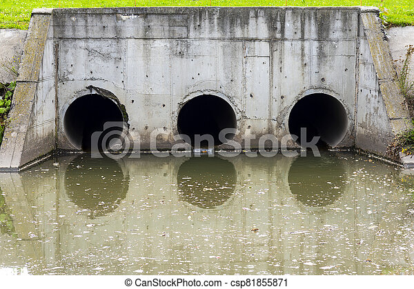 A drain pipe or sewage or sewage discharges waste water into a river. Wastewater or domestic wastewater or municipal wastewater that is a product of a community of people - csp81855871