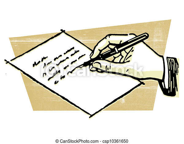 A Drawing Of A Hand Writing A Letter   Csp10361650