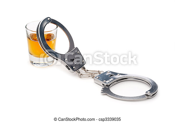 A drink and handcuffs, addiction or alcoholism  - csp3339035