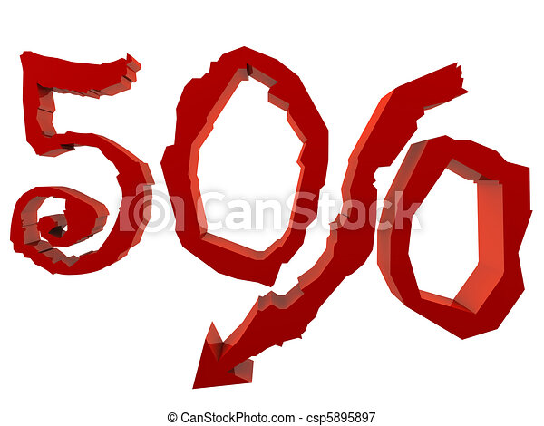 A drop down in percent. Promo discount. Sale. 3D render concept - csp5895897