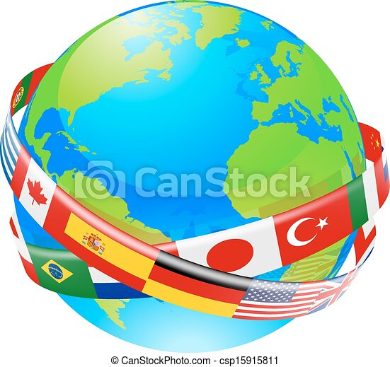 A earth globe with flags of countri - csp15915811