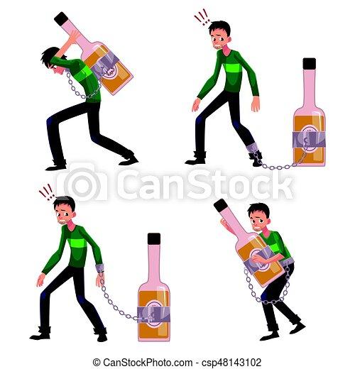 Un joven encadenado a llevar una botella de licor, alcohol - csp48143102