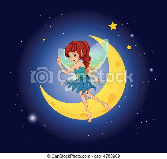 A fairy near the moon - csp14783969