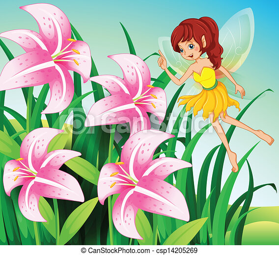 A Fairy Pointing The Pink Flowers At The Garden   Csp14205269