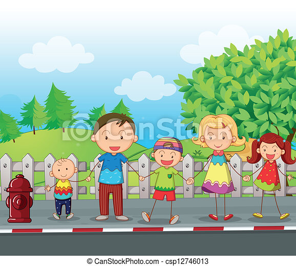 A family along the road - csp12746013
