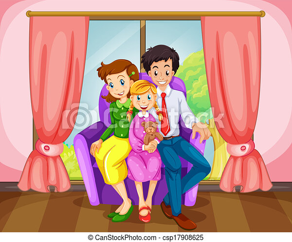 family room clipart. a family at the living room - csp17908625 clipart
